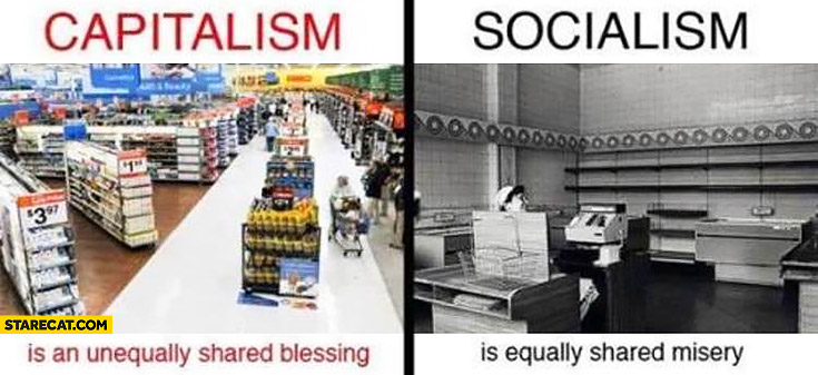 Capitalism is an unequally shared blessing socialism is equally shared misery