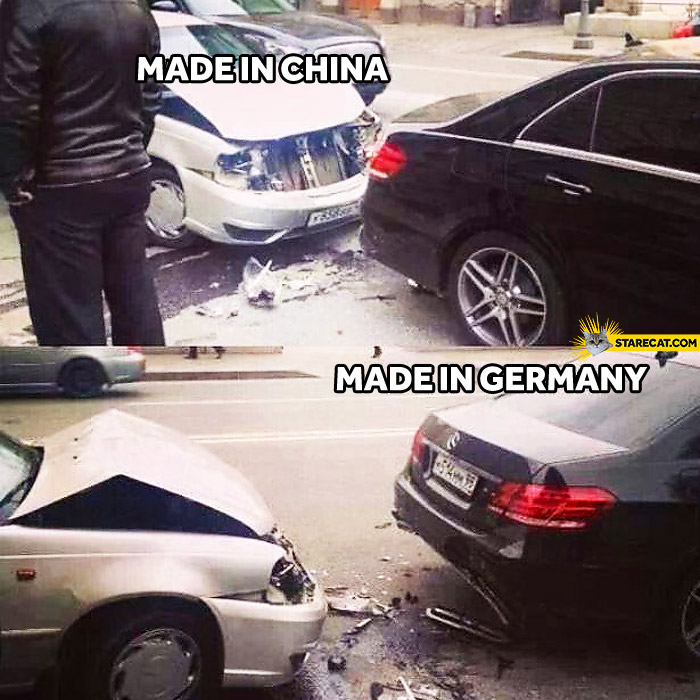 Car crash made in China made in Germany Mercedes