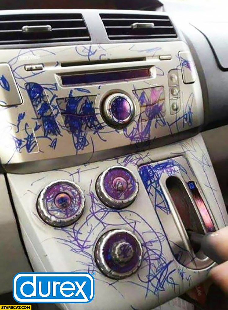 Car destroyed ruined painted by a kid Durex logo