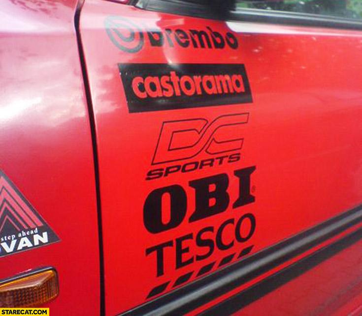 Car door side stickers Brembo Castorama Obi Tesco