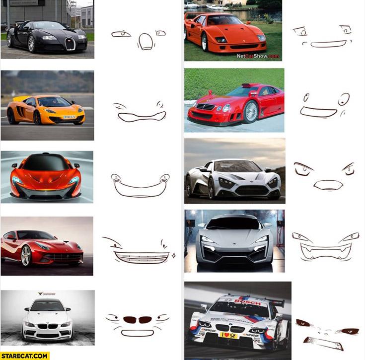 Car faces Ferrari BMW Bugatti