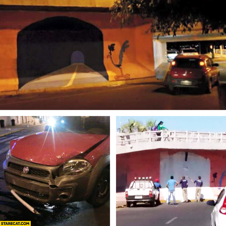 Car hits fake tunnel road runner cartoon