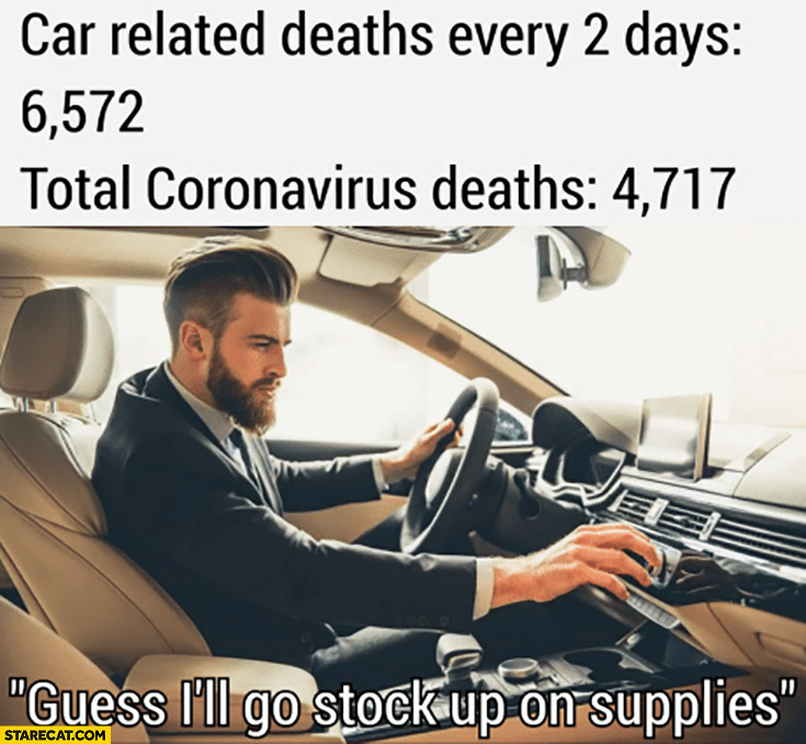 Car related deaths vs coronavirus deaths guess I'll go stock up on supplies using car