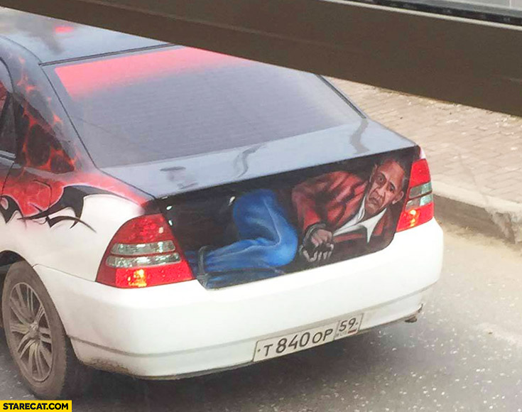 Car with Barack Obama in the trunk boot creative rear graphic