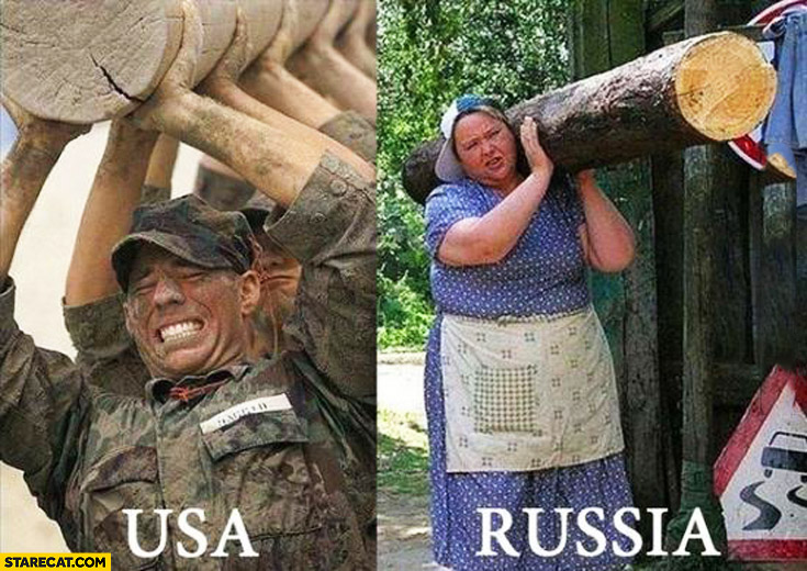 Carrying a log USA soldiers, Russia one single lady comparison