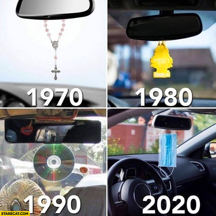 Cars rear view mirror gadgets: 1970 cross, 1980 scent, 1990 compact disc, 2020 face mask