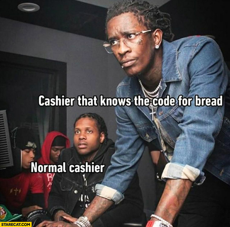 Cashier that know the code for bread vs normal cashier
