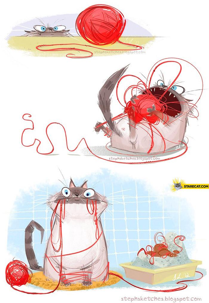 Cat ball of yarn