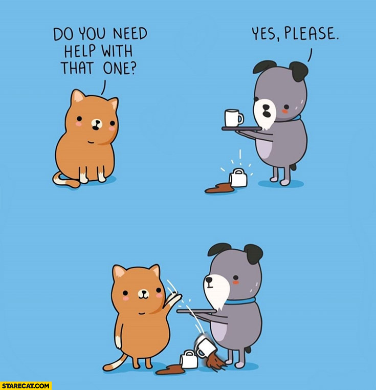 Cat cups do you need help with that one? Yes please, throws another one comic