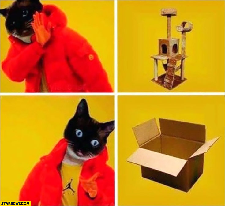 Cat doesn't want cat toy house, prefers box instead. Drake meme
