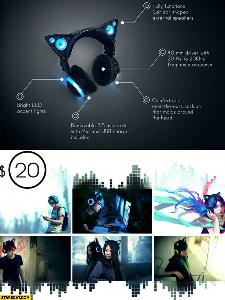 Cat ears headphones with blue light