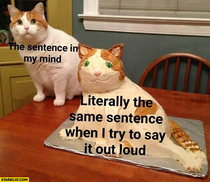 Cat the sentence in my mind vs literally the same sentence when I try to say it out loud