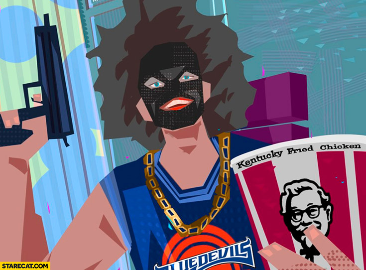 Catboykami face painted black KFC bucket