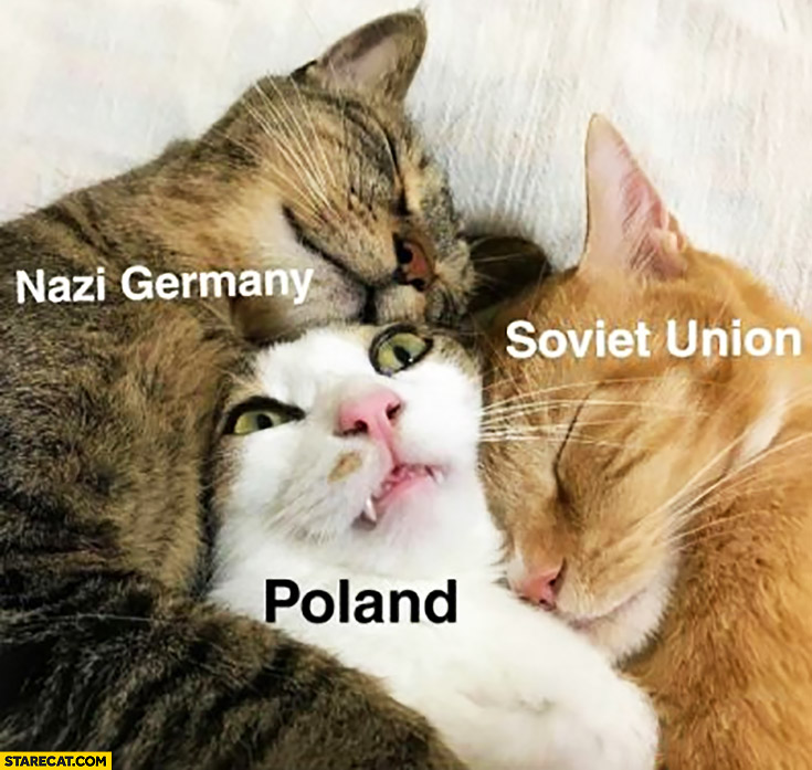 Cats hugging: Nazi Germany, Soviet Union, Poland in the middle