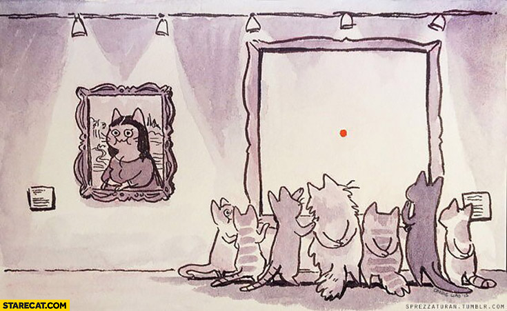 Cats watching red dot painting art gallery