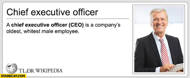 CEO definition Chief Executive Officer is a company's oldest whitest male employee