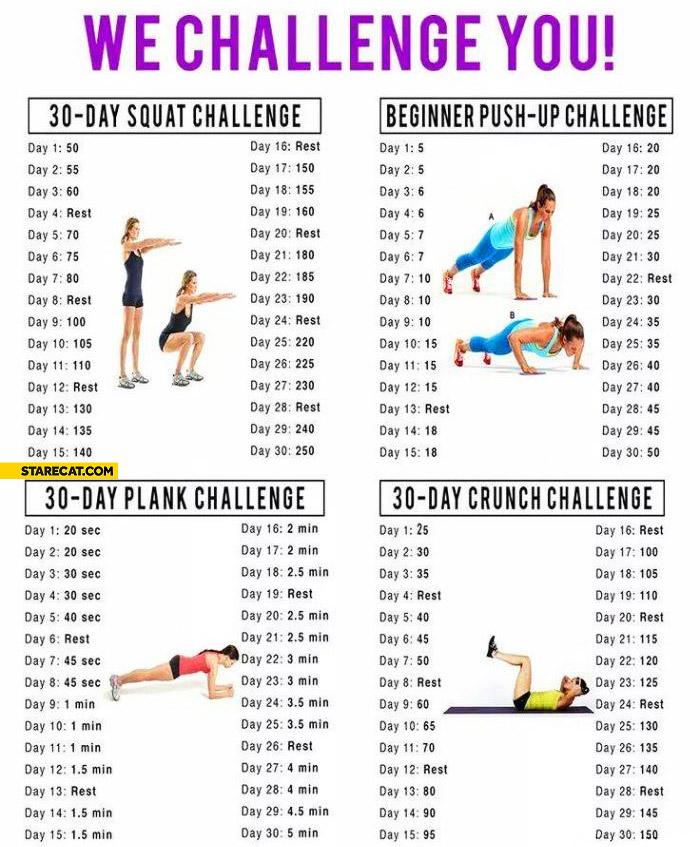 Challenges squats push-ups planks crunches