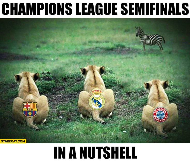 Champions league semifinals in a nutshell lions waiting for a zebra Barcelona Real Bayern