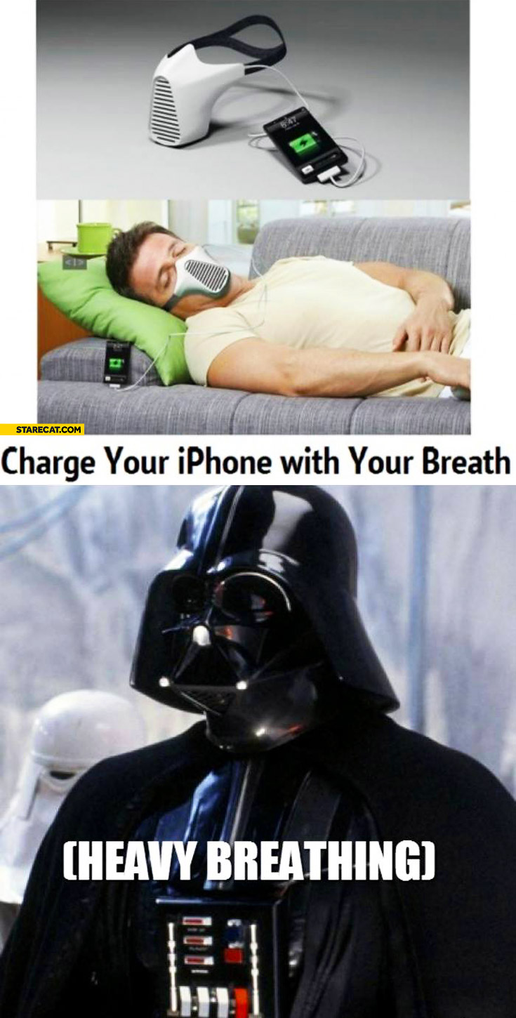 Charge your iPhone with your breath Darth Vader heavy breathing
