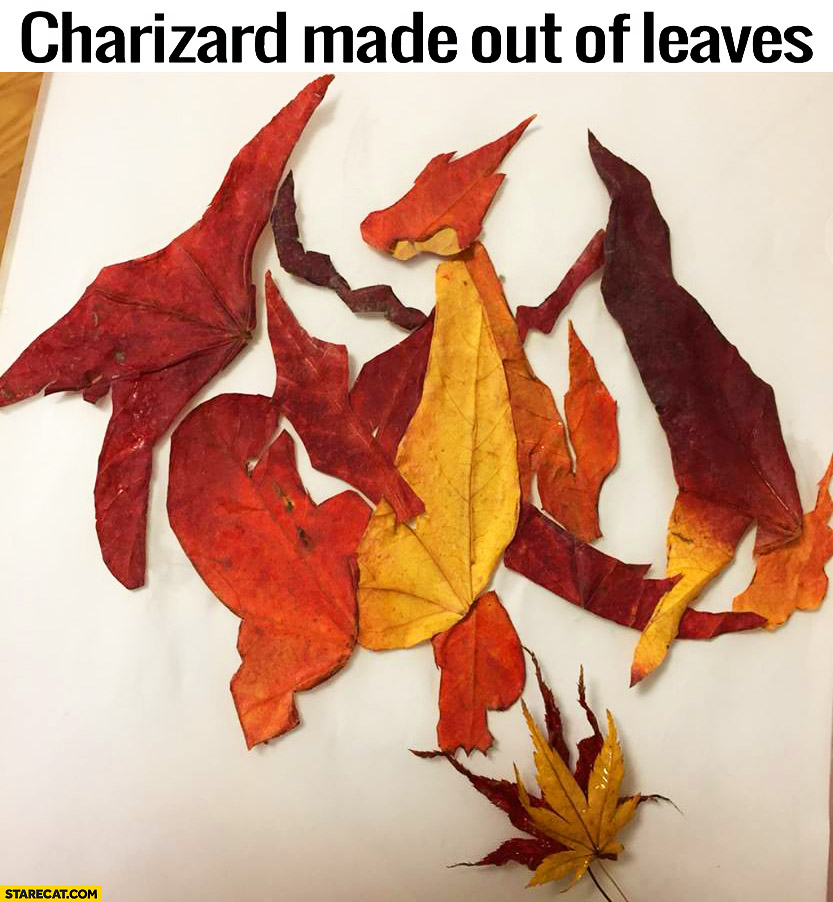 Charizard Pokemon made out of leaves