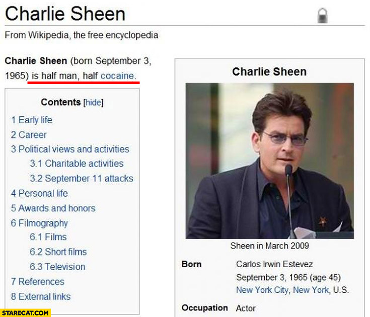 Charlie Sheen half man half cocaine wikipedia wiki