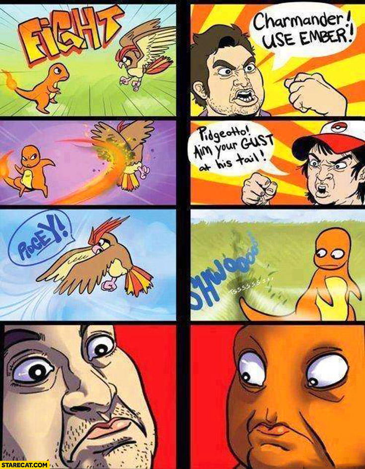 Charmander use ember pidgeotto aim your gust at his tail