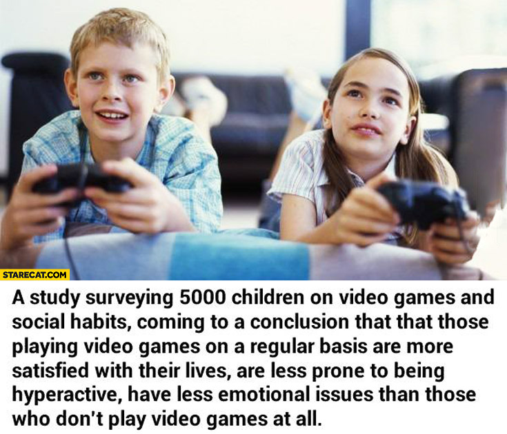 Children playing video games are more satisfied with their lives less prone to being hyperactive have less emotional issues
