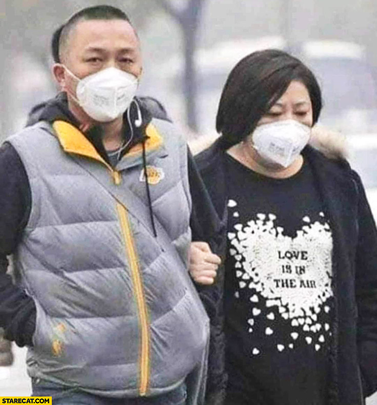 China love is in the air people wearing face masks corona virus