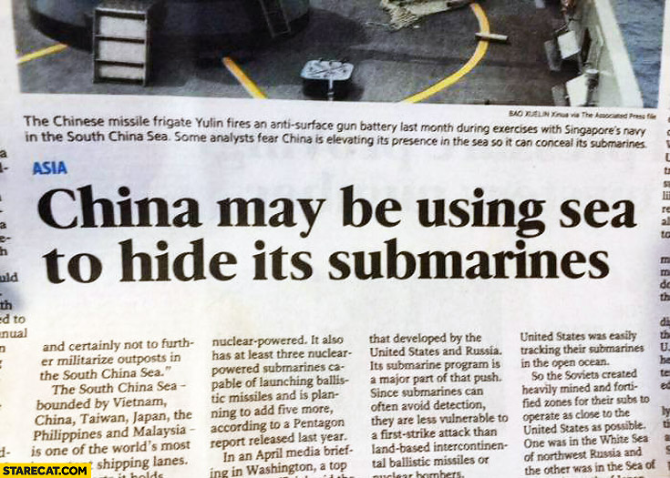 China may be using sea to hide it's submarines