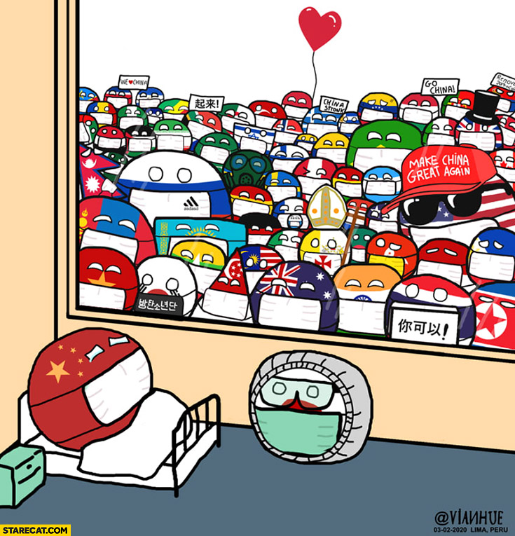 China sick of corona virus all other countries cheering up polandball