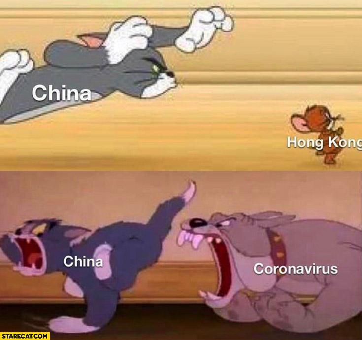 China trying to get Hong Kong coronavirus getting China Tom and Jerry