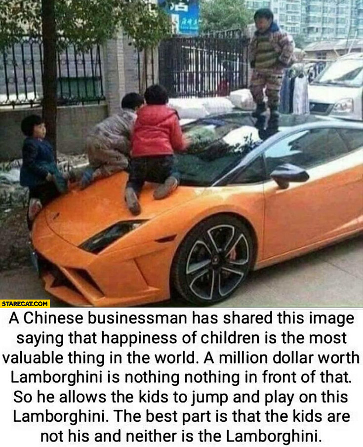 Chinese businessman allowed kids on a Lamborghini, best part is that the kids are not his and neither is the Lamborghini