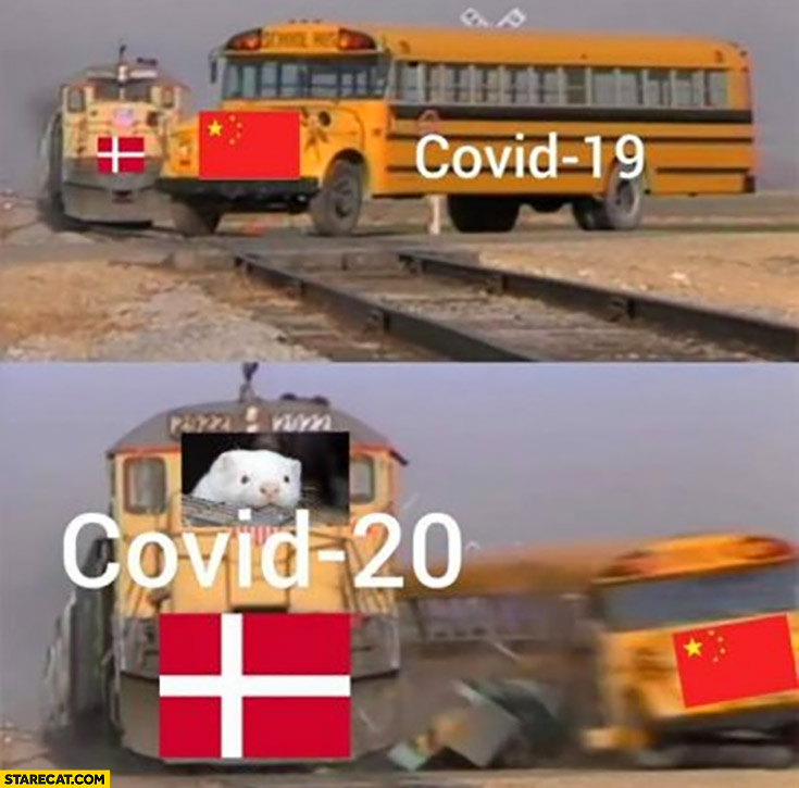 Chinese Covid 19 Gets Hit By Danish Covid 20 Bus Train Starecat Com
