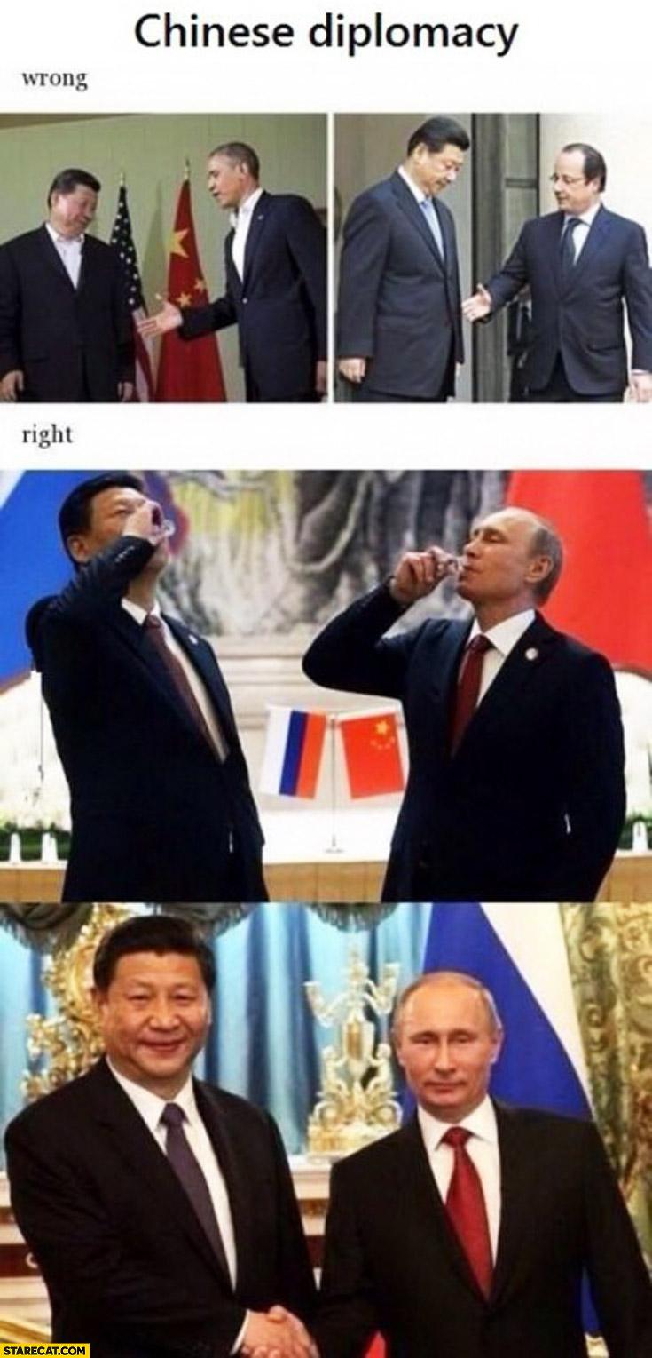 Chinese diplomacy wrong right Putin vodka