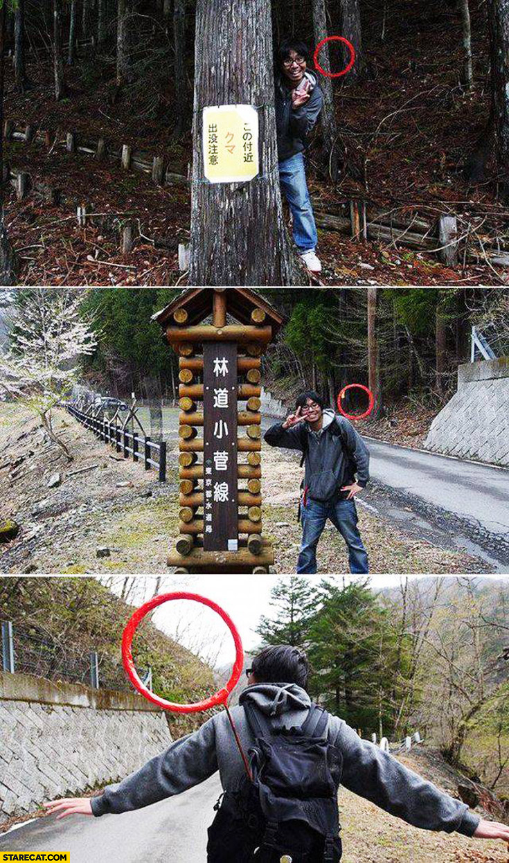 Chinese guy with red circle attached to his backpack creative trolling photos