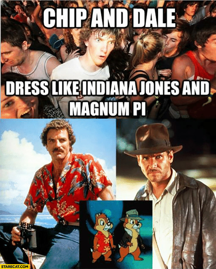 Chip And Dale Dress Like Indiana Jones And Magnum Pi