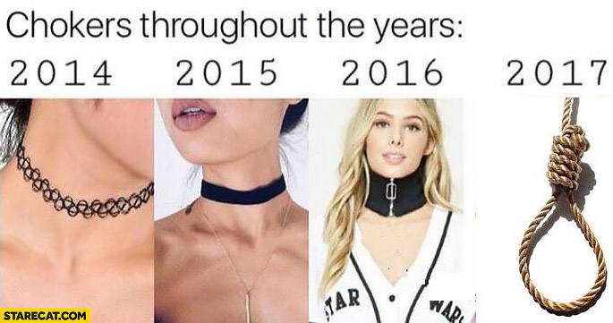 Chokers throughout the years evolution 2014 to 2017 hanging rope