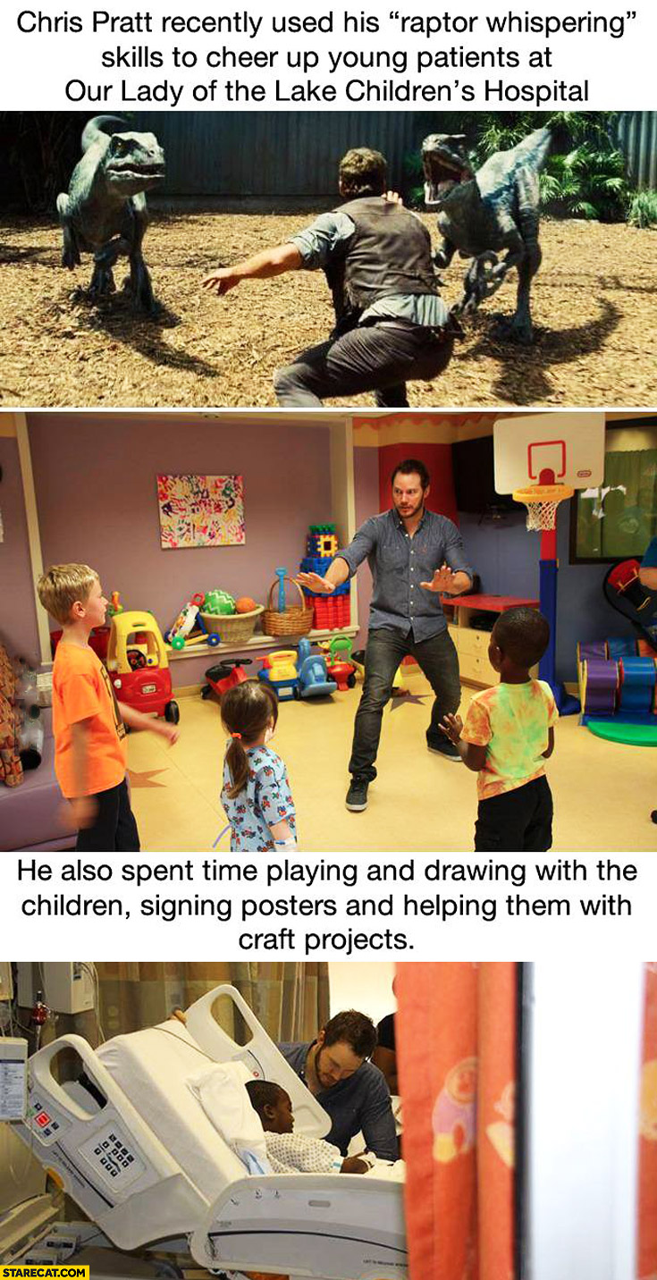 Chris Pratt used his raptor whispering to cheer patients at Lake children's hospital