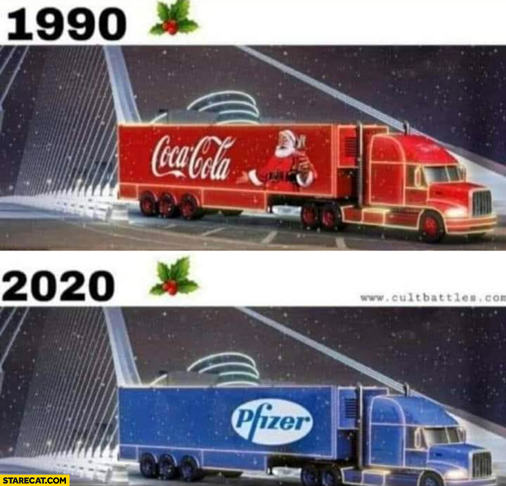Christmas 1990 Coca-Cola truck 2020 Pfizer vaccine truck
