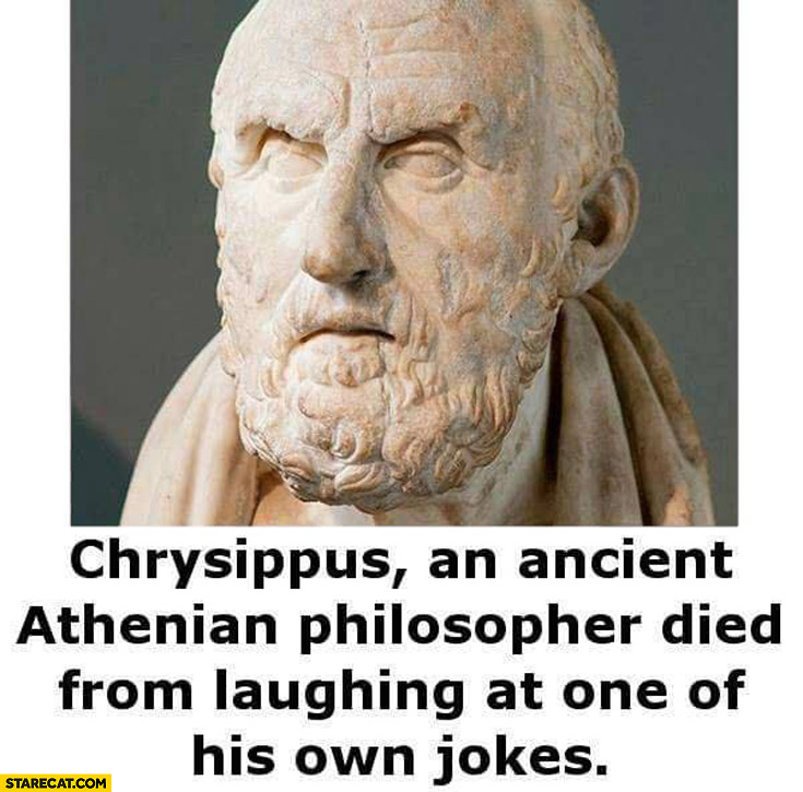 Chrysippus an ancient Athenian philosopher died from laughing at one of his own jokes