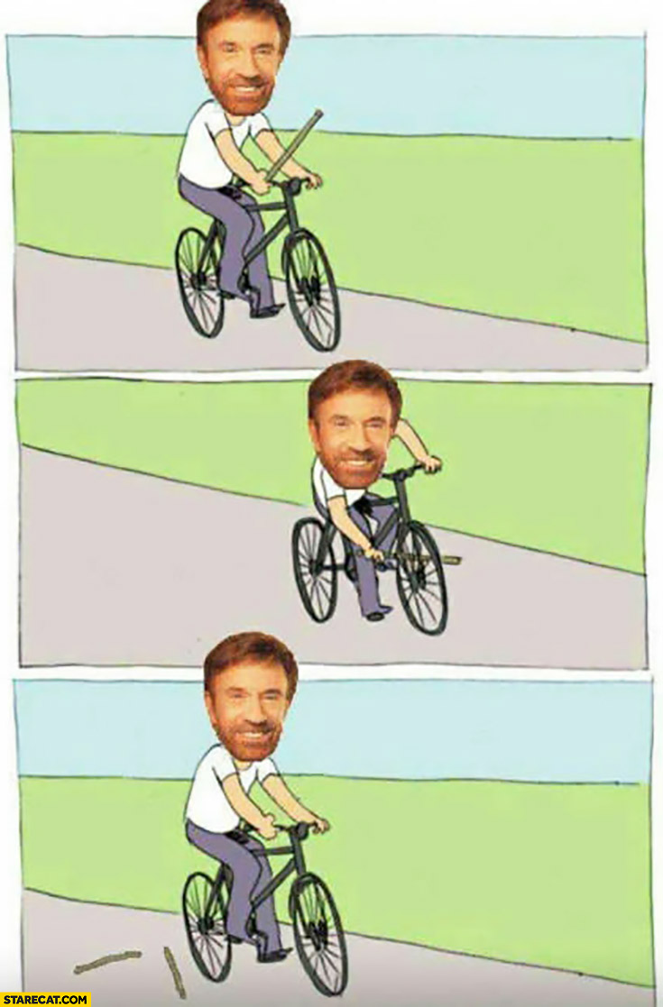 Chuck Norris riding bicycle meme broken stick