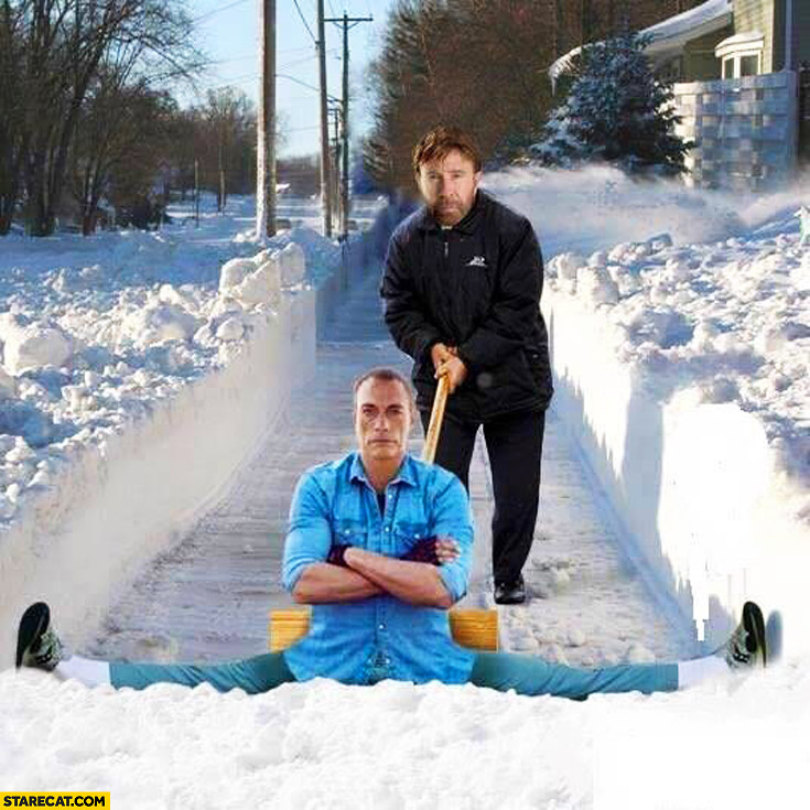 Chuck Norris Van Damme doing splits snow shoveling