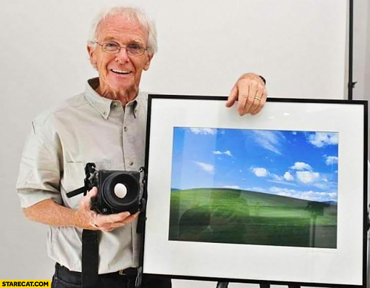 Chuck O'Rear with famous photo Windows XP wallpaper green hills photography author