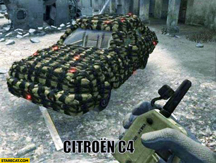 Citroen C4 car covered in explosives