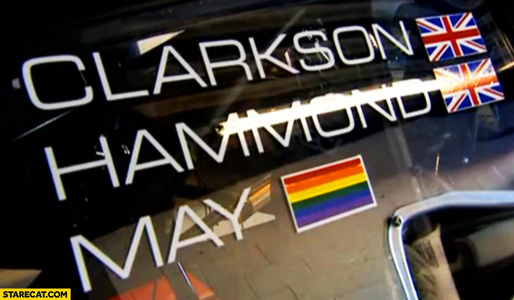 Clarkson, Hammond – UK flag, May – rainbow flag