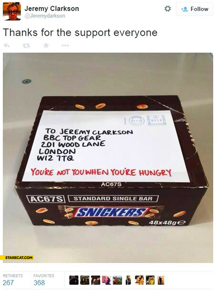 Clarkson snickers box you're not you when you're hungry