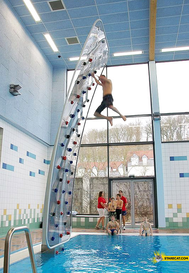 Climbing wall swimming pool