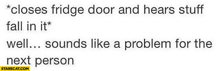 *Closes fridge door and hears stuff fall in it* Well sounds like a problem for the next person