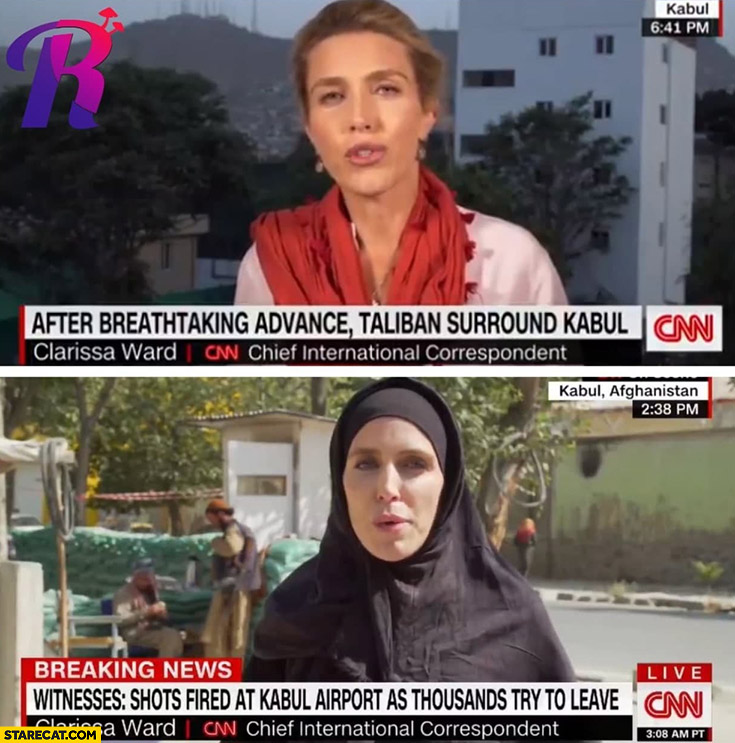 CNN female reporter woman before and after taliban in Afghanistan comparison