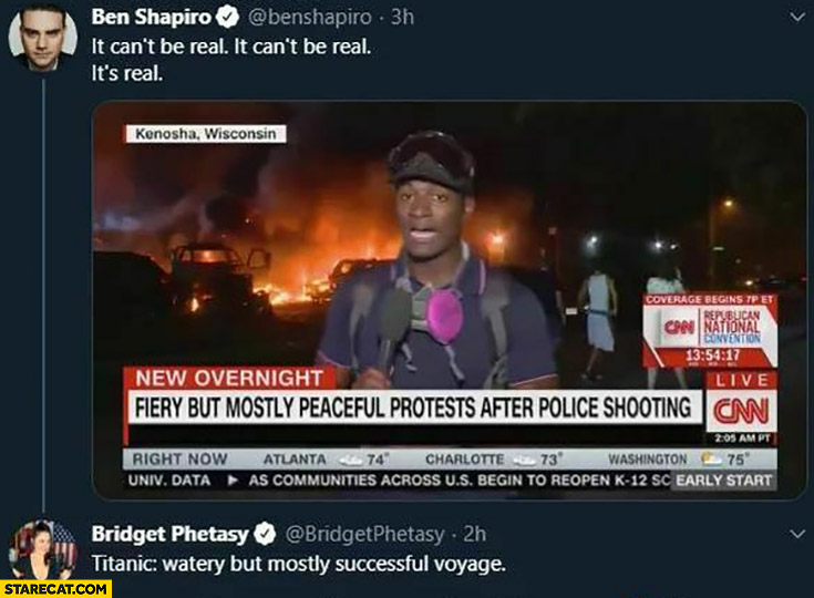 CNN: fiery but mostly peaceful protests after police shooting fire burning Ben Shapiro